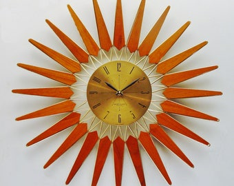 Vintage Starburst Clock, Sunburst Atomic Era Teak Wall Clock