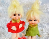 Vintage Christmas Pixie Ornaments Set of 2 Two Red Green Gold Small Felt Blonde Christmas Elf Japan 1960's