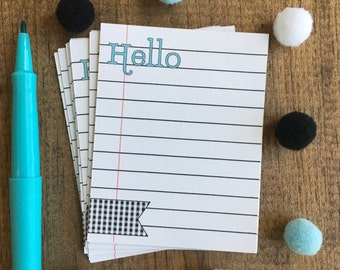 Notecards ~ Hello teal, black, and white checker banner ~ note cards ~ stickers happy mail ~ item H004