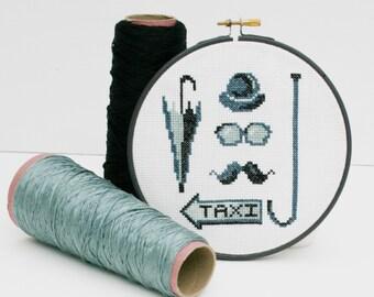 London City Gent, Cross Stitch Kit. DIY Needle Craft kit- By Ruth Caig