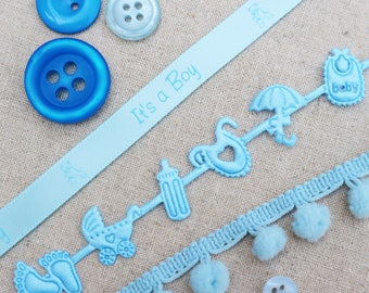 Baby Ribbon Collection. Its a Girl Ribbon. Baby Shower Ribbon. Pink Ribbon. Baby Ribbon. Baby Gift. Pink Pom Pom trim