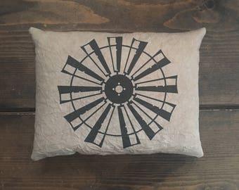 Windmill Farmhouse Feedsack Accent Pillow