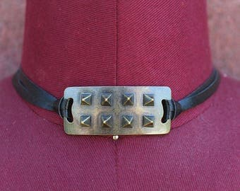 Faux Leather Choker with Antique Brass Pyramid Studs