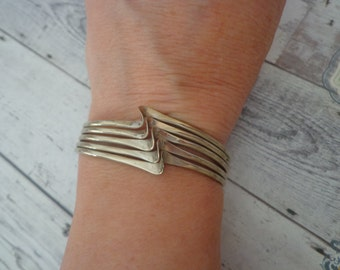 """Vintage Silver Tone Wave Style Cuff Bracelet for Small Wrist - 5 1/2 to 6"""""""