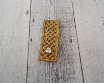 Vintage New Old Stock Brass Braided Look Money Clip w/ Small Clear Glass Stone, Men's Accessory