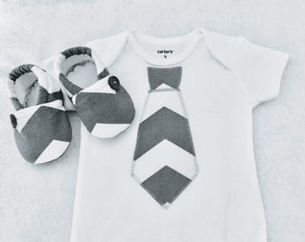 Gray Chevron Tie Bodysuit  and Crib Shoes