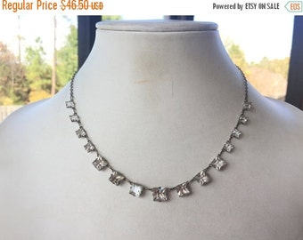 MOVING SALE Half Off Sparkling Vintage Clear Rhinestone Square Cut Silver Tone Open Back Necklace