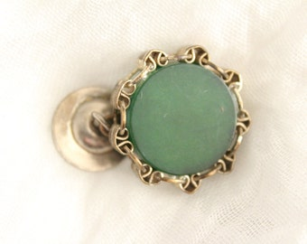 Vintage Single Cuff Link Silver With Green Stone . Unsigned