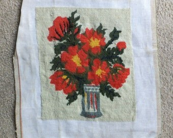 Vintage Petit Point Canvas with Vivid Red Flowers