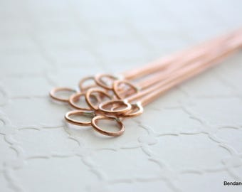 Copper Eyepins, Jewelry Supplies, Headpins with Loop, Eye Pins
