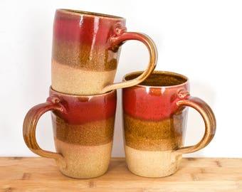 Big Coffee Mug   Ceramic Coffee Mug   Pottery Coffee Mug   Rustic coffee mug    Handthrown Pottery Mug   Unique Coffee Mug   Red Ceramic Mug