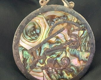 Vintage 1950s Taxco Los Castillo Mosaica Brooch Sterling Silver Inlay