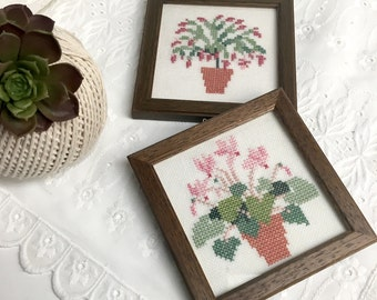 Miniature framed houseplant cross stitcheries  - set of 2 - vintage needlework
