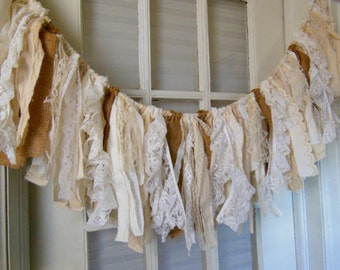 rustic romantic fabric banner, shabby burlap swag, lace fabric garland, lace strip banner, country farmhouse, rustic wedding, shabby home