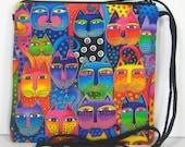 Cute Colorful Cat Faces on Laurel Burch Fabric, Caryn Crossbody Pouch