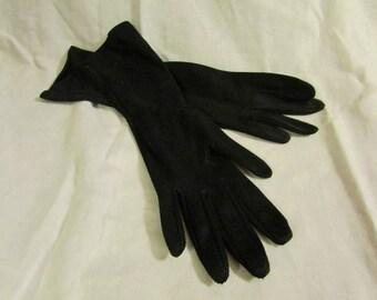 Long Black Alexandre Leather Gloves.