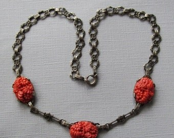 On Sale Antique Sterling Silver Marcasite Celluloid Faux Coral Flower Necklace