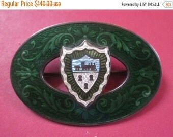 On Sale Antique Art Nouveau Sterling Silver Enamel Train Crest Brooch Hallmarked Caron Brothers Circa 1910