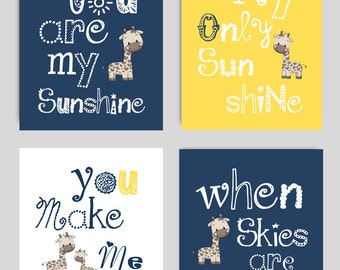 Navy Blue and Yellow Nursery - Navy Blue and Yellow Art Prints for Kids - Navy Nursery Decor - Navy Blue Nursery Wall Art - PRINTS ONLY