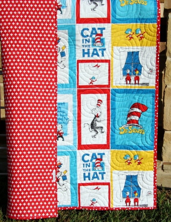 Cat In the Hat Quilt Kit Toddler Wholecloth Cheater Panel : cat in the hat quilt kit - Adamdwight.com