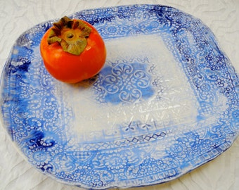 Blue and White, Lace Platter, Modern Flow Blue, Blue white porcelain, Pottery Platter, Ceramic Platter, Textured Pottery, Stamped pottery