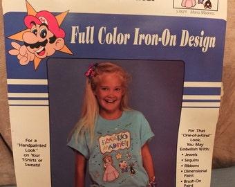 1990 Super Mario Bros Mario Madness Nintendo Full Color Iron On Transfers