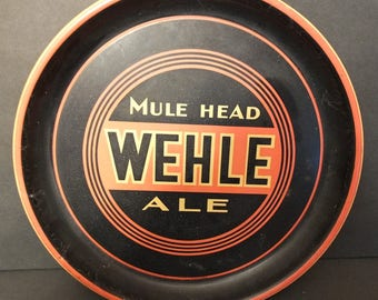 Wehle Mule Head Ale Bar Tray Vintage Beer Tray