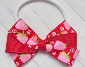 Strawberry Girls Headband-Strawberry Headband, Baby Headband, Strawberry Bow, Red Strawberry Bow, Pink Strawberry Bow, Strawberry Shortcake