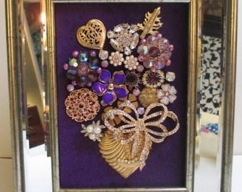 Jeweled Framed Jewelry Flower Bouquet Purple Gold Mirrored Valentine