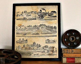 Framed Antique Atlas Page from Union County, Ohio Atlas, circa 1890