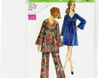 Simplicity 8549 Misses Size 10 Bell Bottoms, Tunic and Dress Hippie
