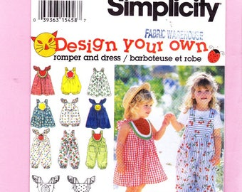 Simplicity 9008 Toddlers Long or Short Romper and Dress Sizes 1/2, 1, 2 Uncut