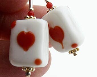 Heart Earrings, 1 1/4 inch (3.2cm) Drops, Playing Card Earrings, Red and White Glass Bead Earrings, Valentine's Gift for Card Player