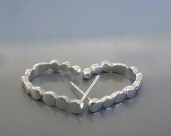 Sterling silver pebble hoop earrings, Open hoop earrings, Gift for her