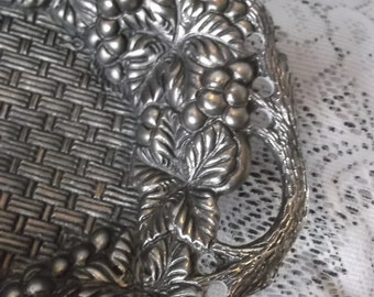 Vintage metal dished tray, grapes and weave, silvertone antiqued metal