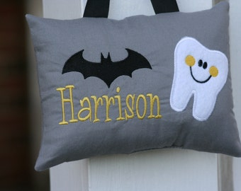 Superhero Tooth Fairy Pillow for Boys Personalized Batman Christmas Birthday Keepsake Tooth Chart