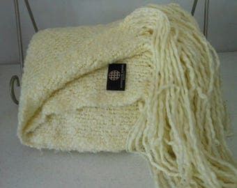 "KENNEBUNK Fringed Throw Elegant Ivory 12"" Fringe"