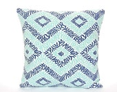 Indigo Aqua Throw Pillow Covers Decorative Coastal Cushions ALL SIZES Navy Spa Blue Beach Pillow Patio Sea Diamond Couch Pillow Shams
