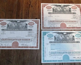 3 Stock Certificates for Pan American World Airways, Inc., 1971 and 1981 ~ Free Shipping