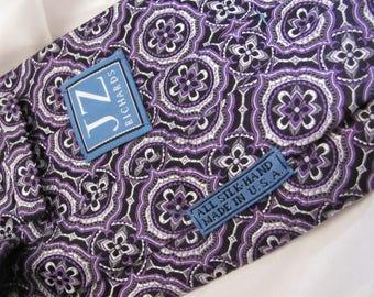 J Z Richards - Mens Purple Black Textured Silk Neck Tie Designer 4 x 58