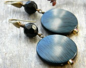 Geometric earrings large earrings big earrings blue and black beaded jewelry beaded earrings gift for her denim blue