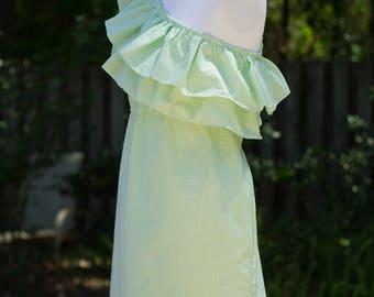 Patti, womens seersucker dress double ruffle, one shoulder, seersucker, summer dress