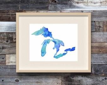 Summer Days, Great Lakes Print, Great Lakes Art, Great Lakes Map, Great Lakes Watercolor, Great Lakes Painting, Michigan Print, The Big Lake