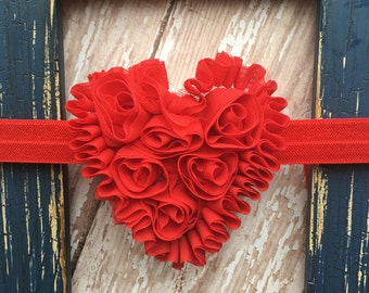 "Red Shabby Frayed Chiffon 3"" Heart Headband Valentine's Day Babies Toddlers Girls"