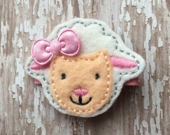 My Little Lamb Pink White  Easter Felt Hair Clip Clippie Babies Toddlers Girls