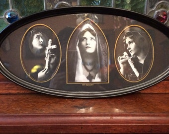 Nun and Crucifix Photographs in Oval Frame 1920s