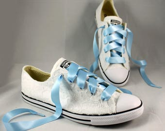 Lace Converses --Bridal Converses -- Wedding Tennis shoes  - Wedding Converse-- Custom Converses