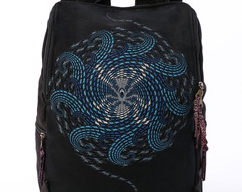 Canvas Laptop Backpack With Psychedelic Uv Print, Black Backpack Fitting 13 inch 15 inch 17 inch Laptops, Gift Ideas