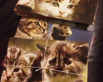 Handmade bundle of 5 envelopes made from vintage cat & kitten photography book, perfect for stationery addicts and penpal letters