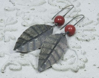 Red berry MEDIUM.  Oxidized silver leaves with red coral berries
